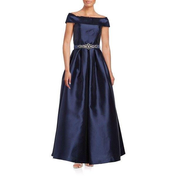 Navy belted evening dress