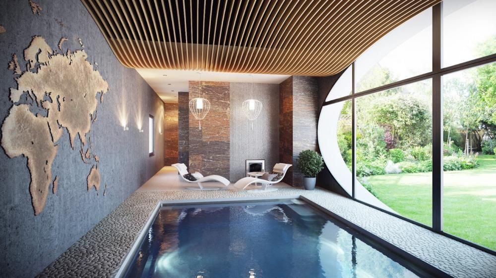 Living Room Indoor Swimming Pool Modern Chandelier Lounge Bed Yellow Ideas  Simple Rooms With Fireplace Traditional Cozy Swimming Pool Inside The House  With ...