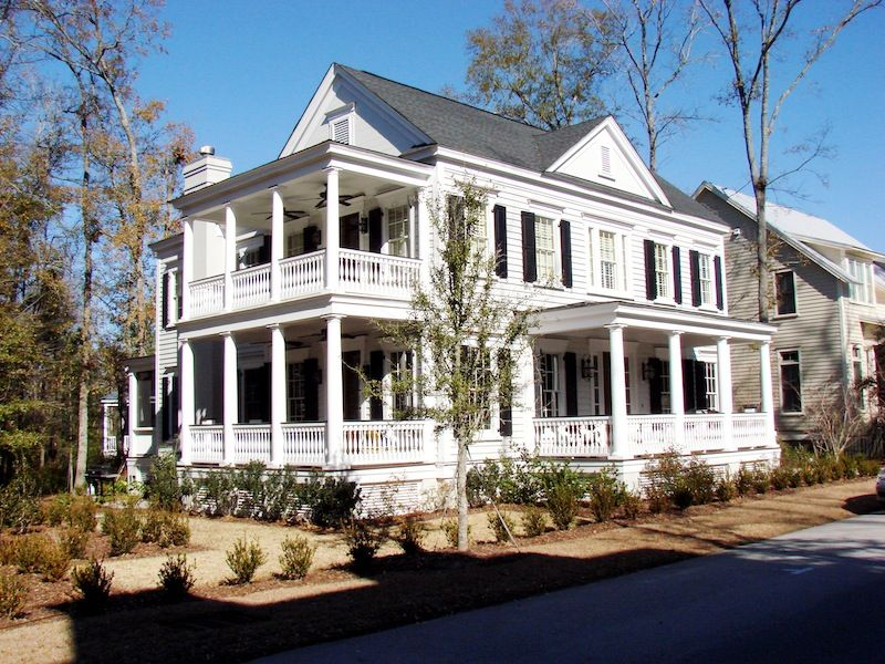 Love double side porch country house plans low country for Low country house