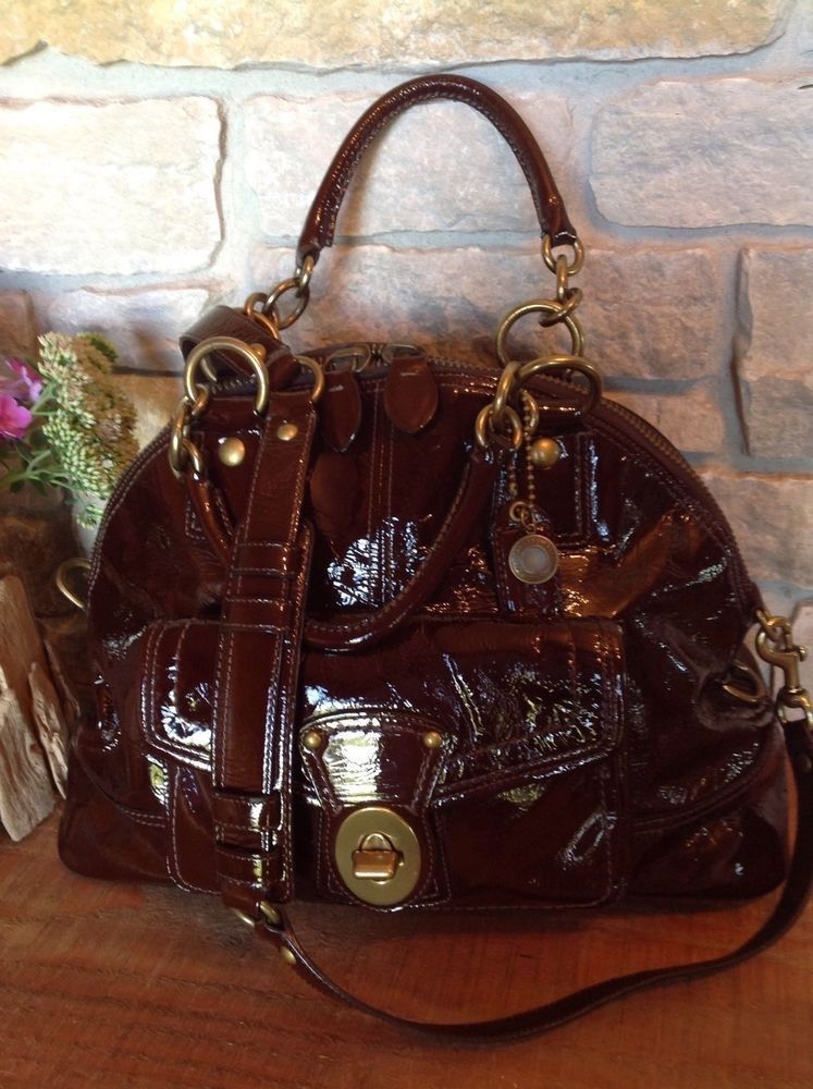 d7ed5c32697a COACH Mahoghany Patent Leather Francine Domed TurnLock Legacy Shoulder Bag  12295  Coach  MessengerCrossBody