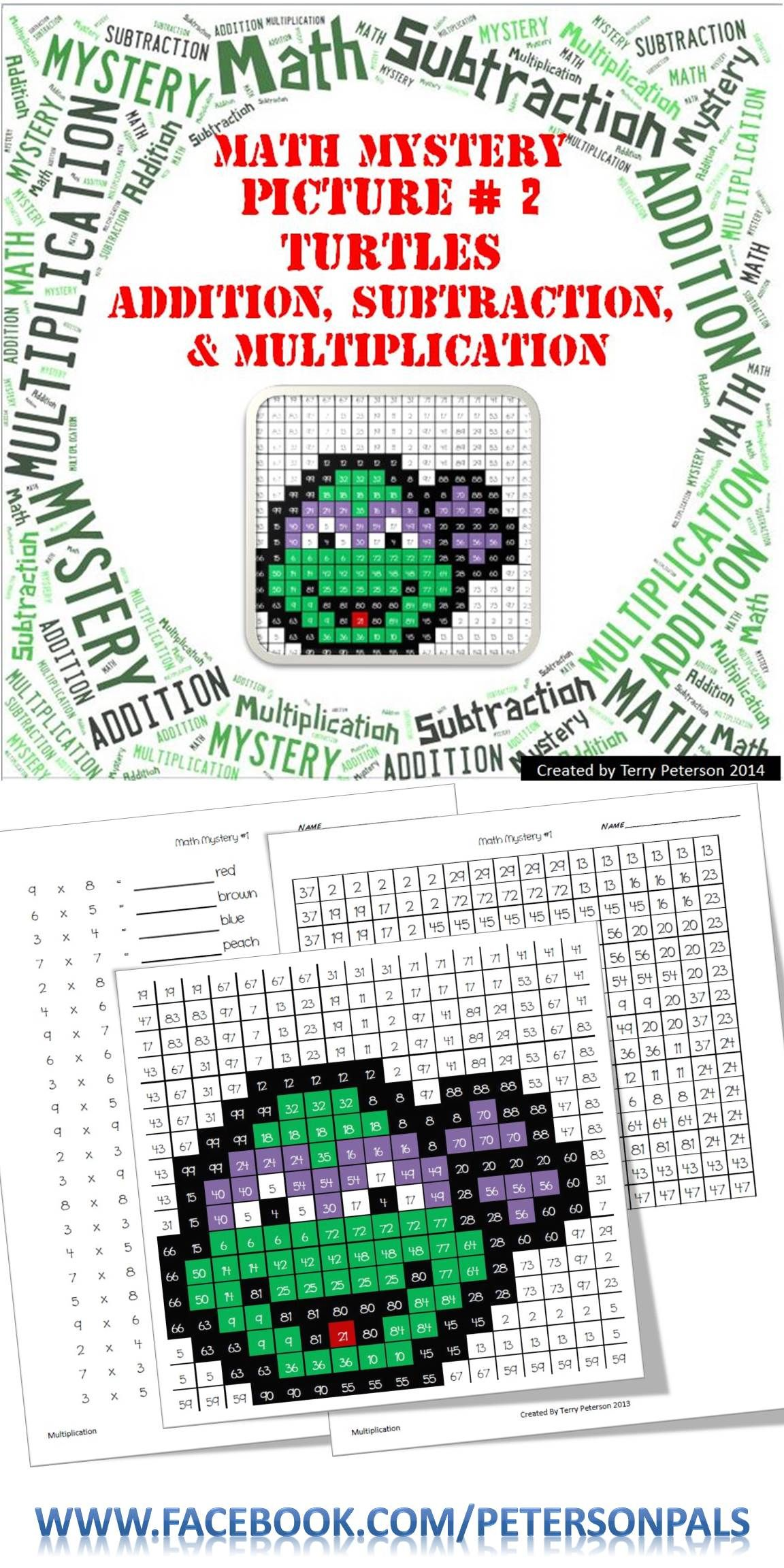 Ninja Turtles Math Mystery Picture 2 Addition