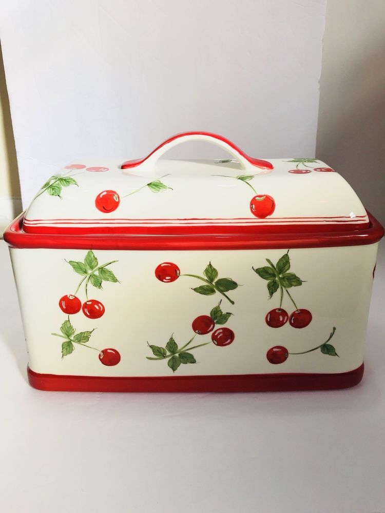 Target Bread Box Enchanting Target Home Brand Ceramic Bread Box Hand Painted Cherries Cherry Red Inspiration