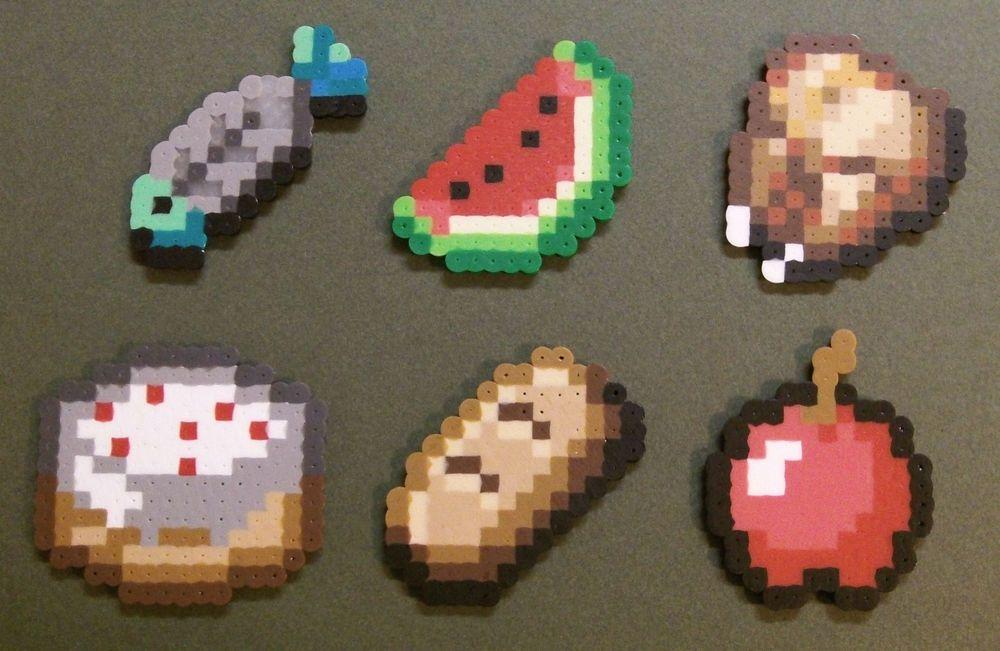 Minecraft Food Items Perler Fused Beads Chicken Fish Bread
