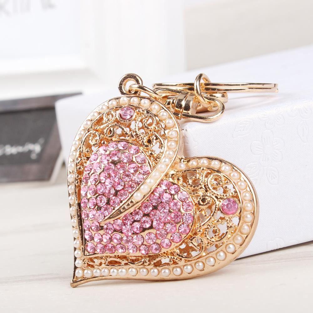 New Fashion Sweet Heart Pearls Crystal Charm Pendant Purse Bag Car ...