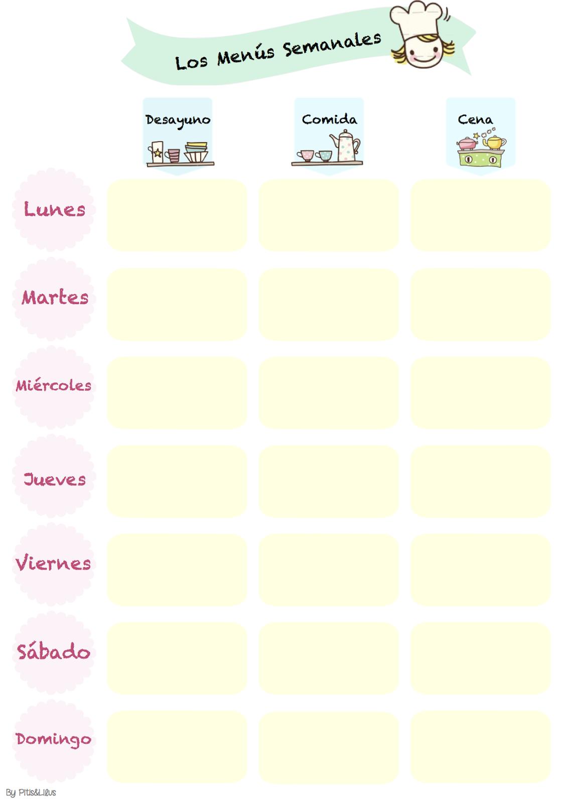 Imprimible para organizar el men semanal f cil y for Organizar comida semanal