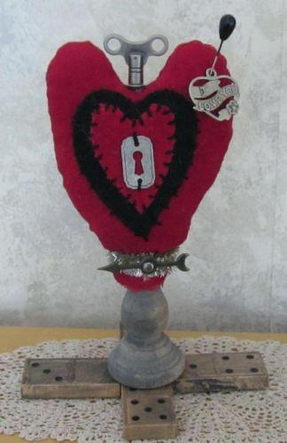 primitive steampunk heart valentines day folk art make do pin rh za pinterest com