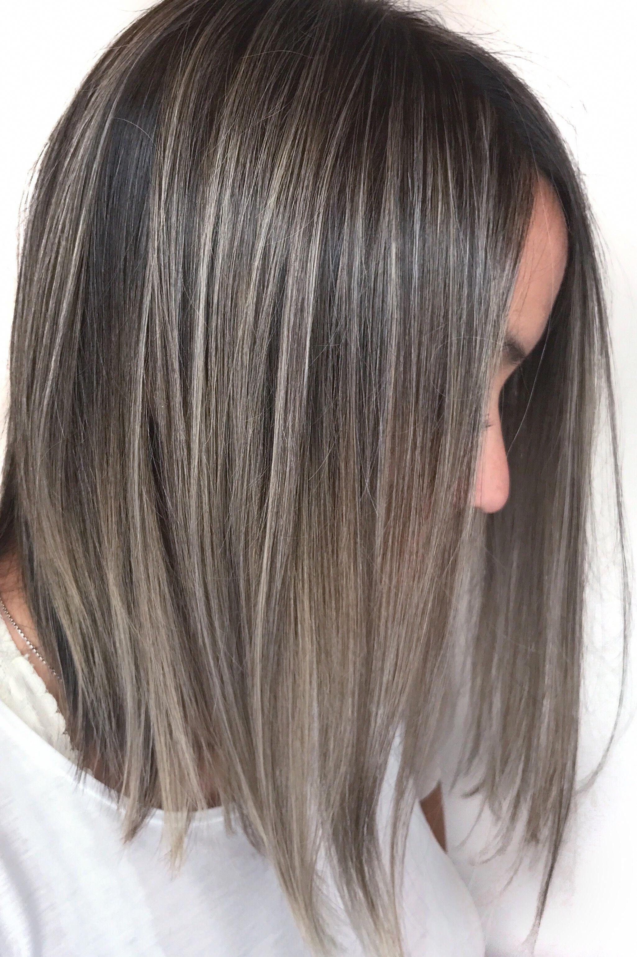 Silver Highlights Silver Foilayage Balayage Grey Hair Grey Balayage Fine Brown Hair Balayage Colored Hair Tips Hair Styles