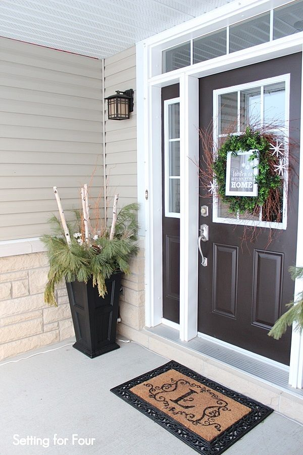 Winter Entryway Decor And Curb Appeal Ideas Winter Porch Front