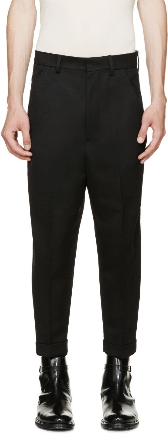 AMI Alexandre Mattiussi - Black Twill Relaxed Trousers