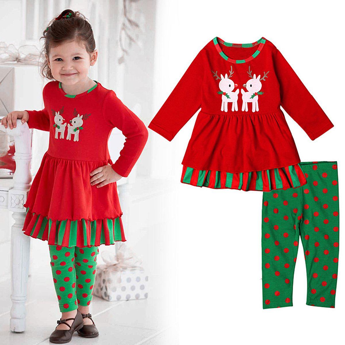 Toddler Kids Baby Girl Christmas Deer T shirt Tops Stripe Pants Princess Outfits
