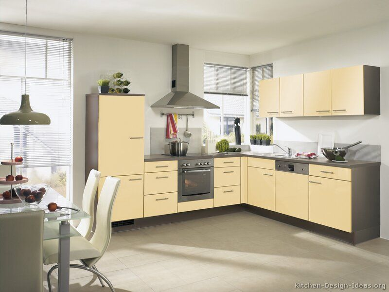Modern Yellow Kitchen Cabinets (Alno.com, Kitchen Design Ideas.org