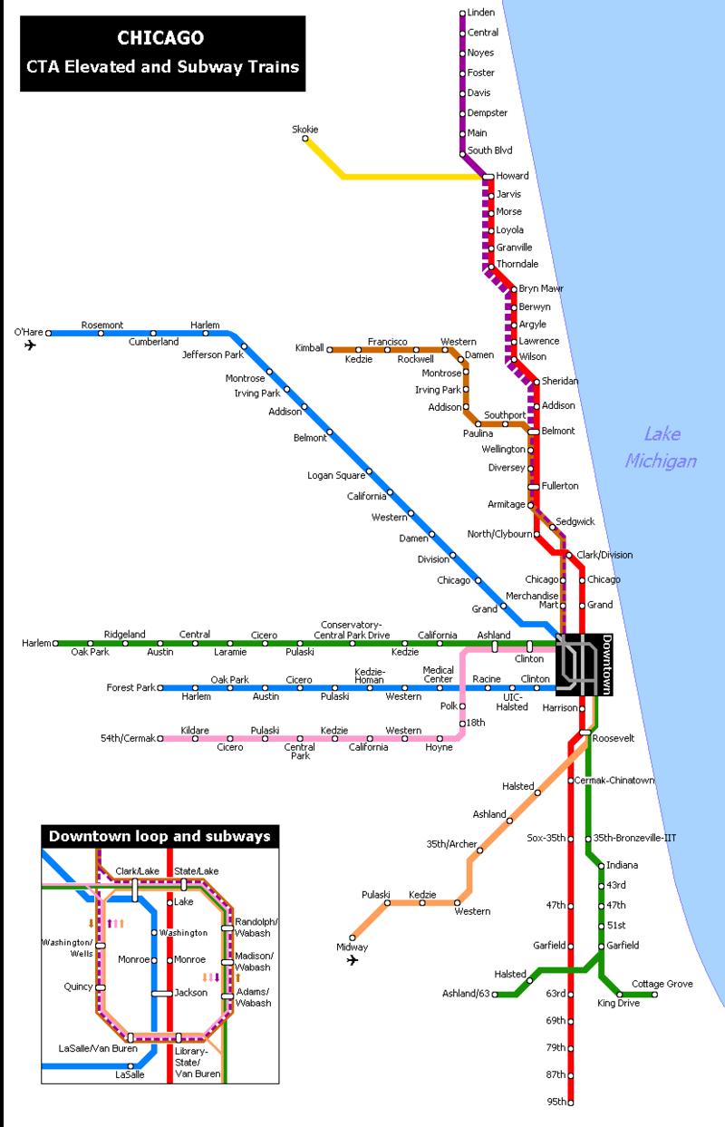 Chicago Subway Subway Map.Metro Of Chicago Chicago Train Station Map Train Map Subway Map