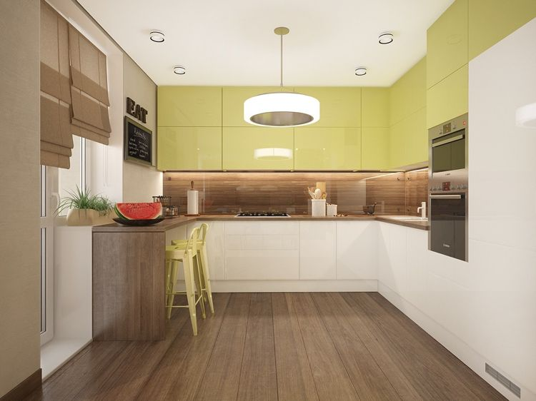 Schon Küche In L Form In Grün, Weiß Und Holz