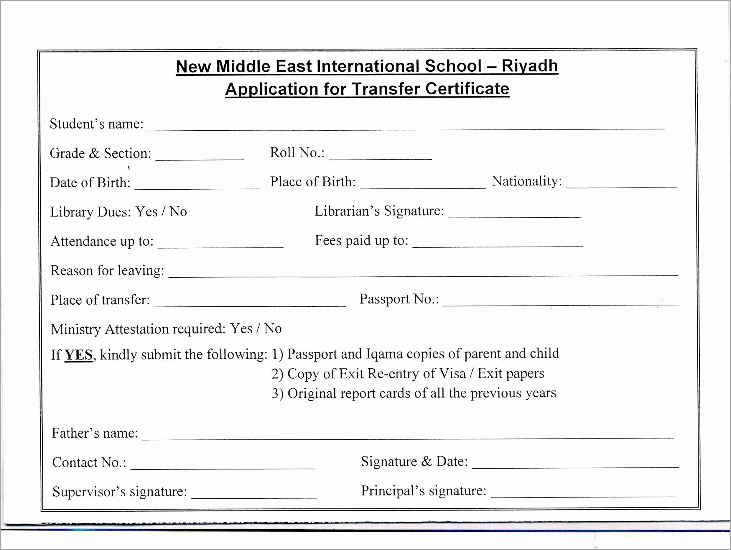 school transfer certificate application letter sample