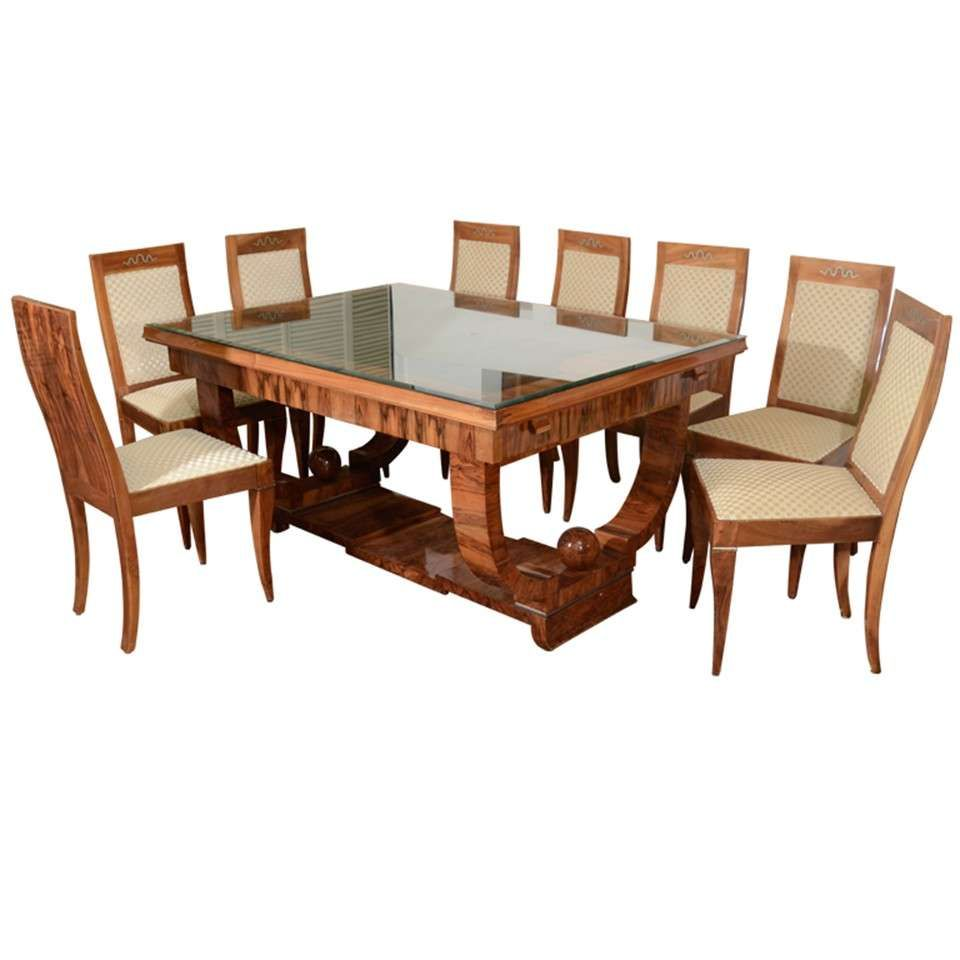 French Art Deco Walnut Dining Set With Eight Chairs From
