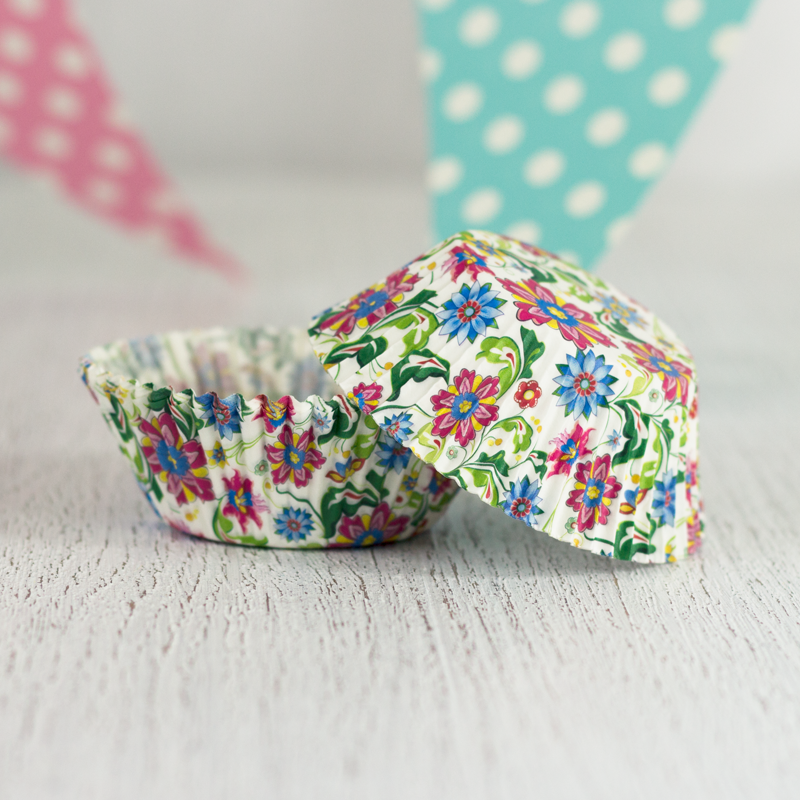 Multi-coloured Floral Cupcake Liners 12pcs from My Party Store