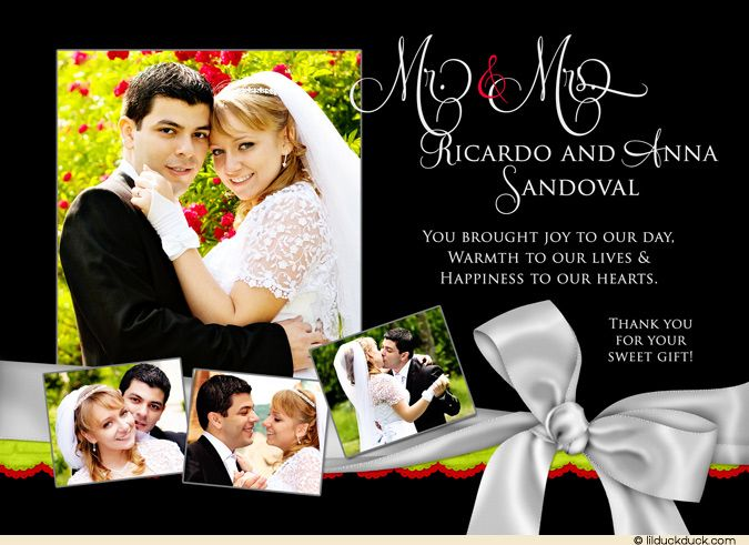 17 Best images about Collage Photo Wedding Thank You Cards on – Wedding Photo Thank You Cards