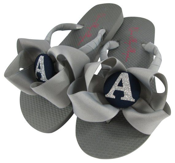 ff0fb4e628beda Bridesmaid Flip Flops- Gray Navy and Silver Glitter Bows and Personalized  Initial. Many colors
