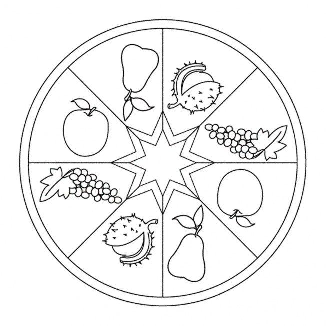 Herbst Mandala Mit Fruchten Mandala Herbst Herbst Im Kindergarten Ausmalen