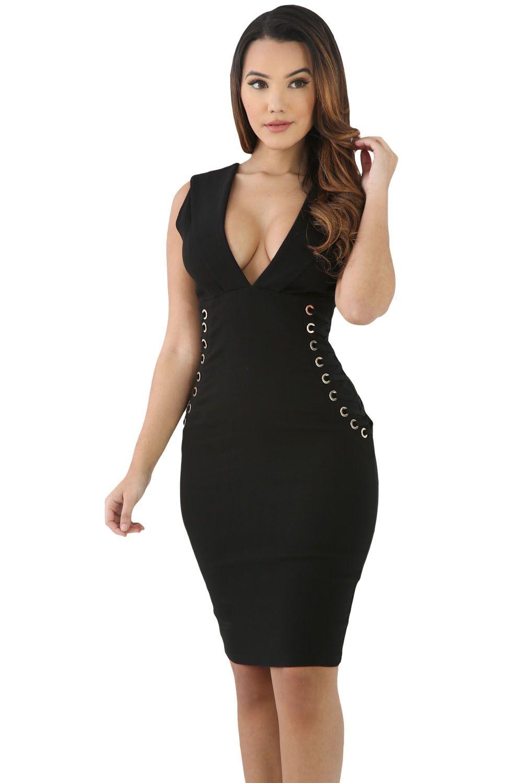 Websites bodycon dress black lace accent under arm