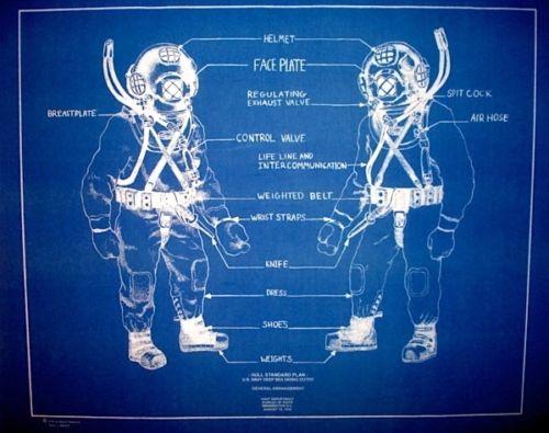 US Navy Mark V Diving Helmet 1943 Blueprint Plan 18 - fresh blueprint builders seattle