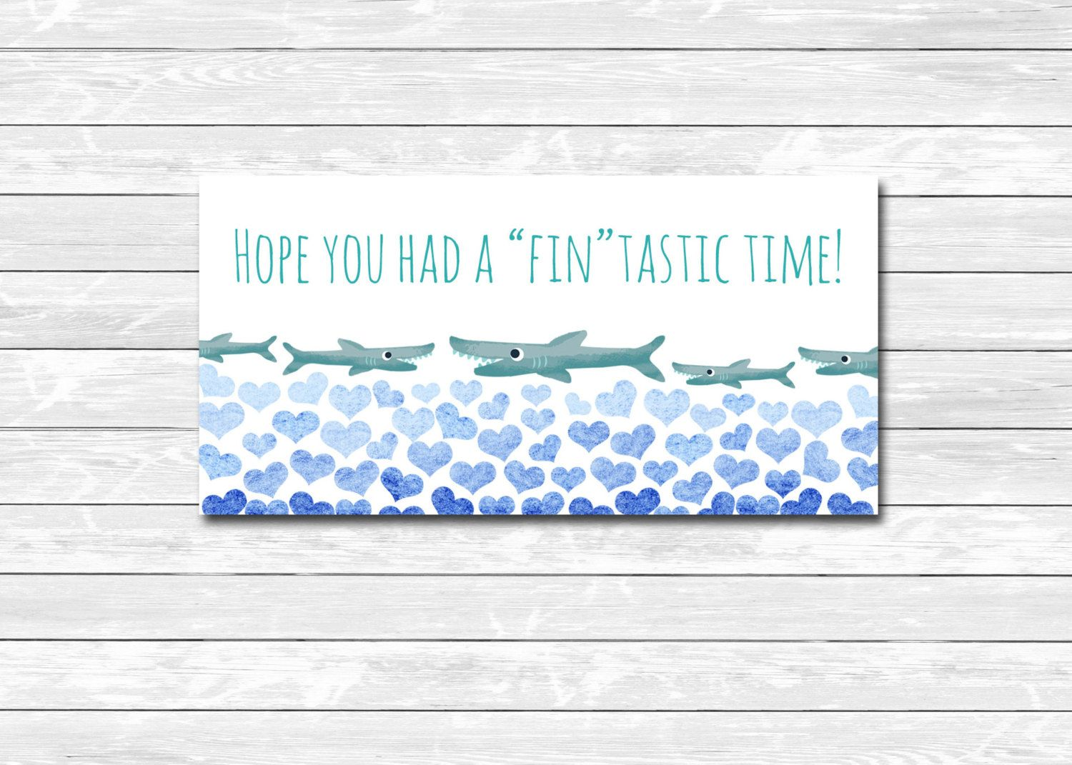 Printable Custom Shark Fintastic Thank You Card Sticker Goody