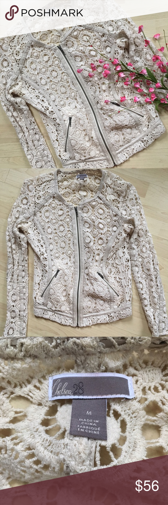 """Firm 💗Crochet and faux leather moto style jacket Gorgeous moto inspired crochet and faux leather jacket. ~23.5"""" long and 34"""" bust. In excellent condition. Runs slightly small, would fit a small as well. Chelsea28 Jackets & Coats"""