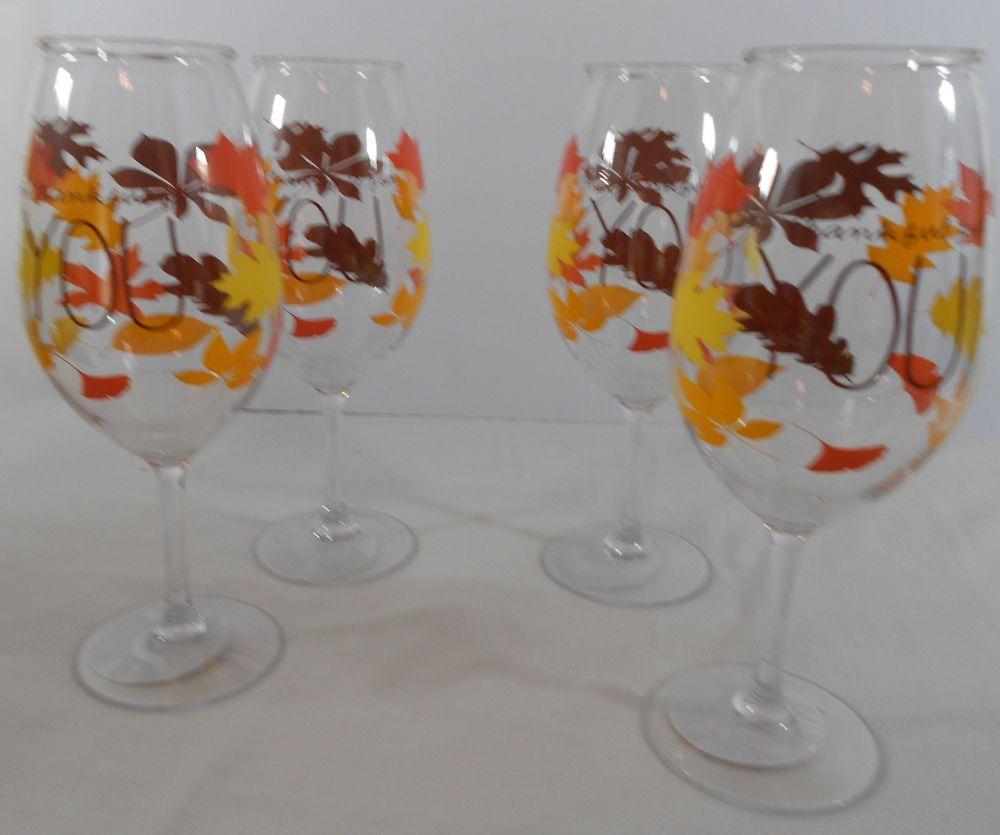 Celebrate It Harvest Plastic Wine Goblet 16 ounces Barware Autumn Set of 4 #Celebrateit