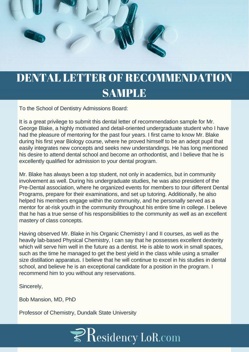 Letter for Dentist Luxury Re Mendation