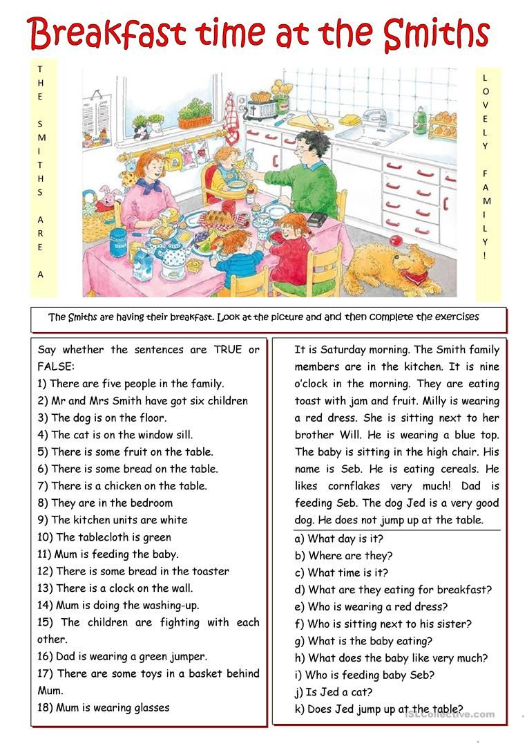 Breakfast With The Smiths Worksheet Free Esl Printable Worksheets Made By Teachers English Lessons For Kids English Activities English Reading [ 1079 x 763 Pixel ]