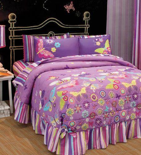 New Teens Girls Purple Lila White Butterflies Flowers Bedspread Bedding Set