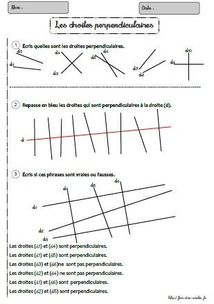 Les Droites Perpendiculaires Ce2 Cm1 Cm2 Fee Des Ecoles Geometrie Cm2 Exercice Geometrie Ce2 Geometrie Ce2