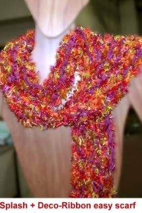 Free Easy Knit Scarf Pattern Splash Eyelash Deco Ribbon Crystal
