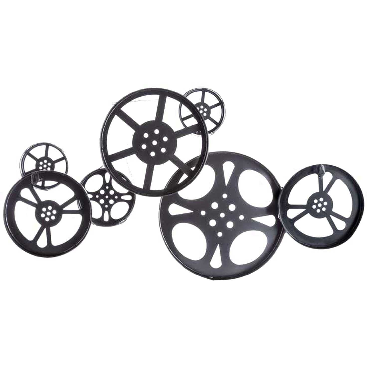 Large antique bronze metal movie reel wall art theater home decor