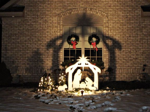 How Beautiful Is The Shadow On This House From The Outdoor Nativity Scene Outdoor Nativity Outside Christmas Decorations Outdoor Christmas Decorations Yard