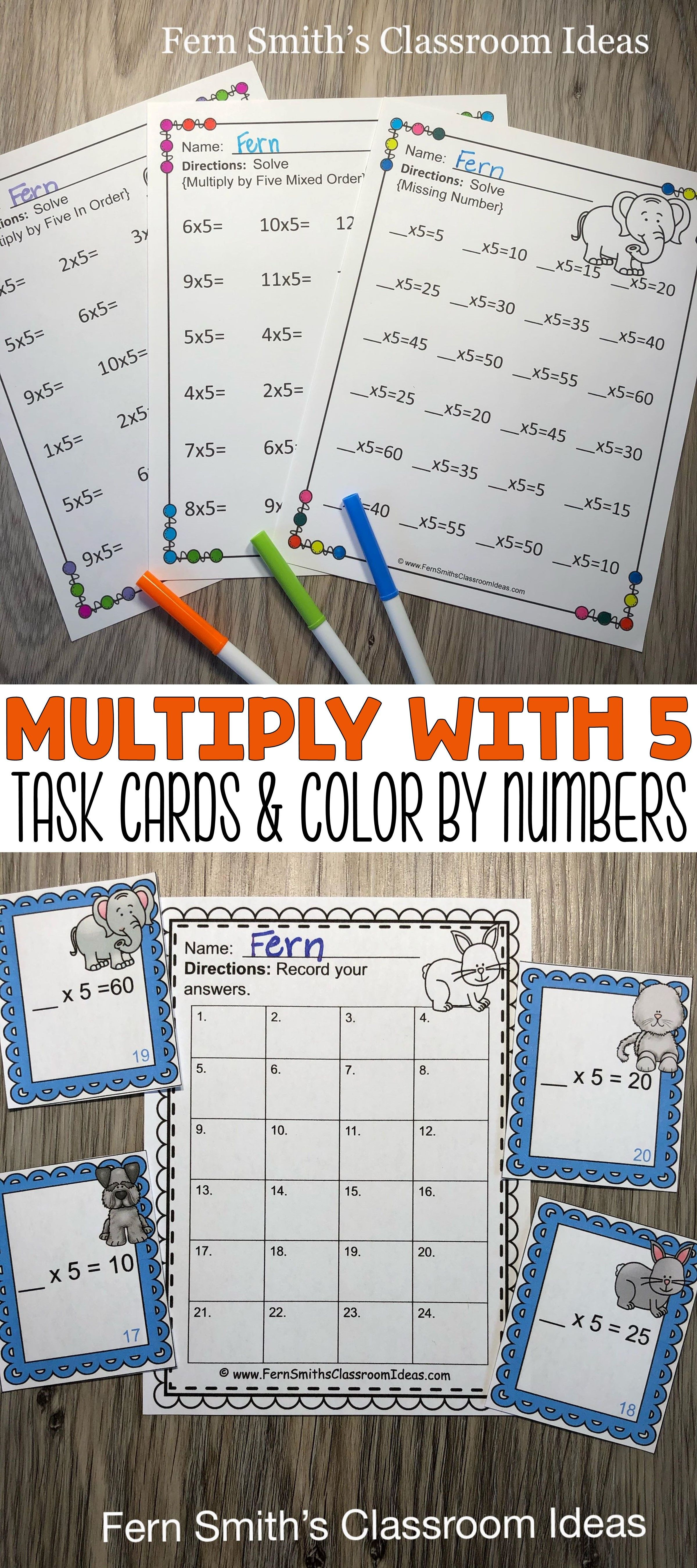 3rd Grade Go Math 4 2 Multiply With 5 Color By Number And
