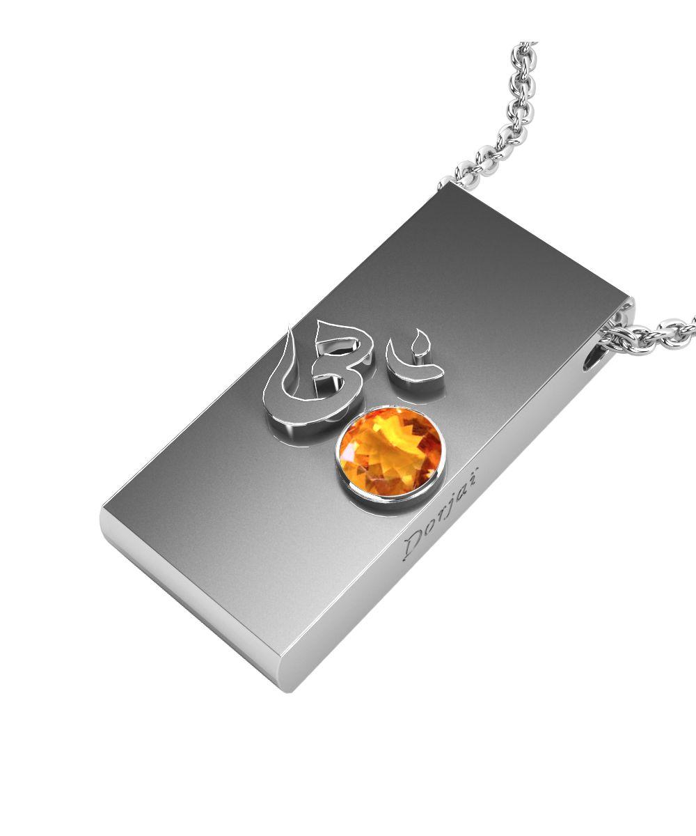Pendentif Aum - Citrine orange