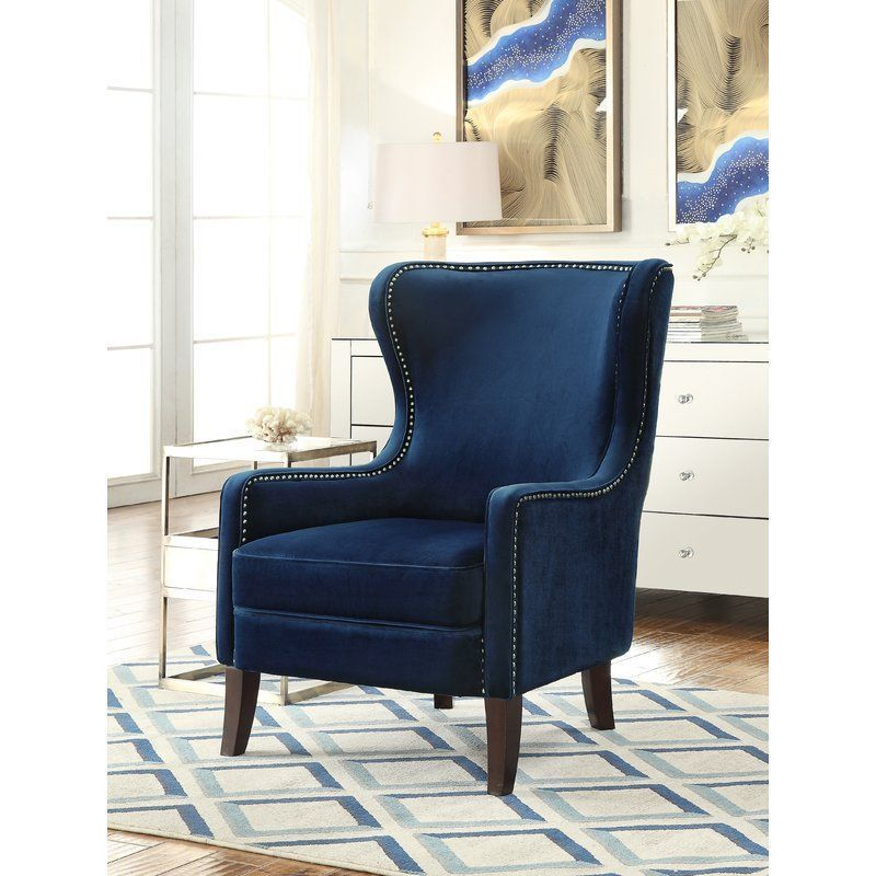 Fabric Blue Armchair Foam Cushion Polyester Wooden Living Room Awesome Wooden Living Room Chairs Design Inspiration