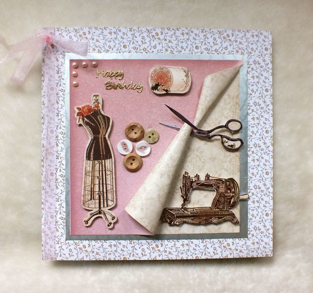 Luxury Handmade Sewing Theme Birthday Card Handmade Cards