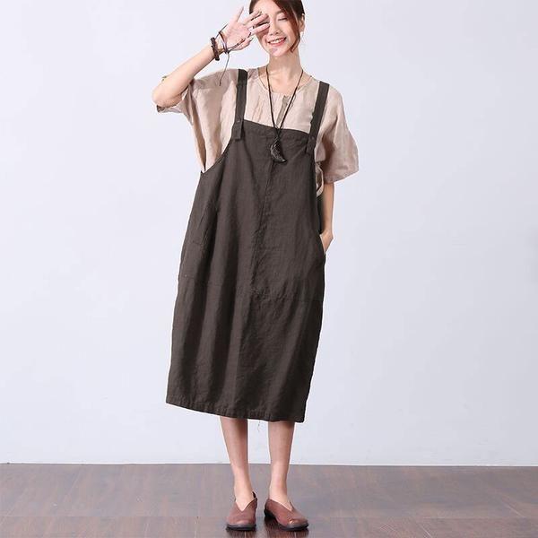 858af1a3660a Casual Loose Pocket Women Brown Vest Dress