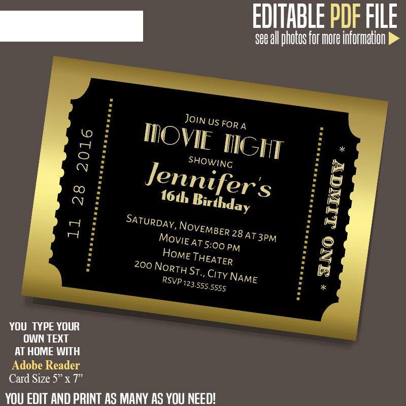Movie ticket Invitation, Gold and black ticket template, Printable - movie ticket template