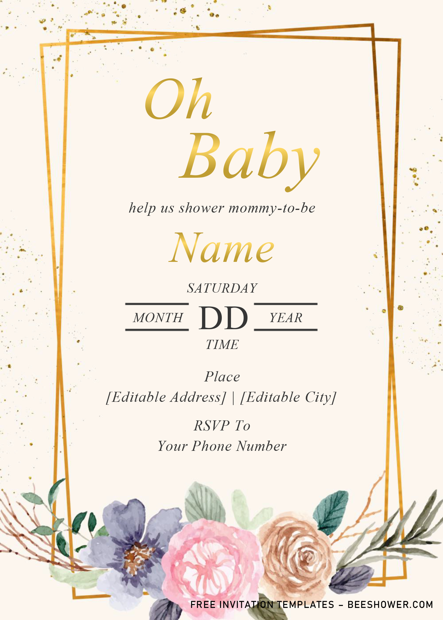 Floral And Geometric Baby Shower Invitation Templates Editable With Ms Baby Shower Invitation Templates Printable Baby Shower Invitations Invitation Template