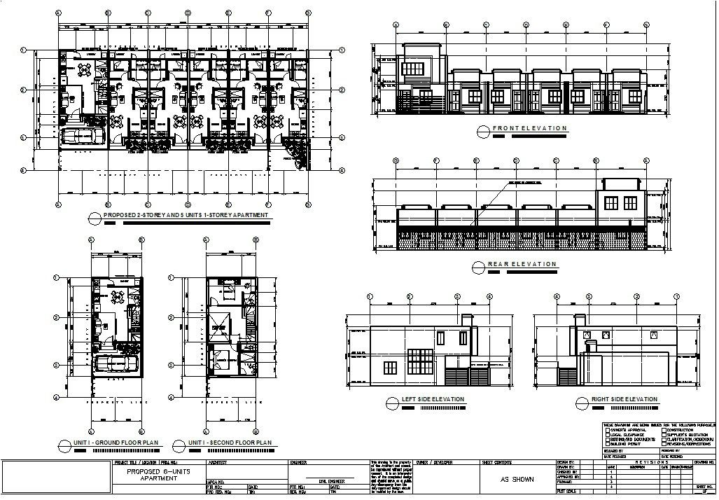 multiple units house floor plan with elevations, perspective ...