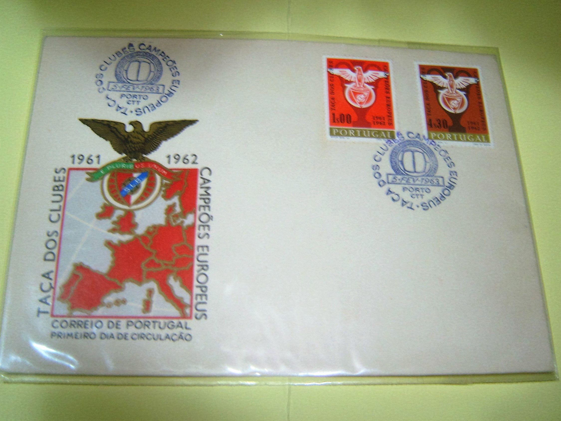 Envelope com 2 selos do Benfica Campeão Europeu 1961/1962