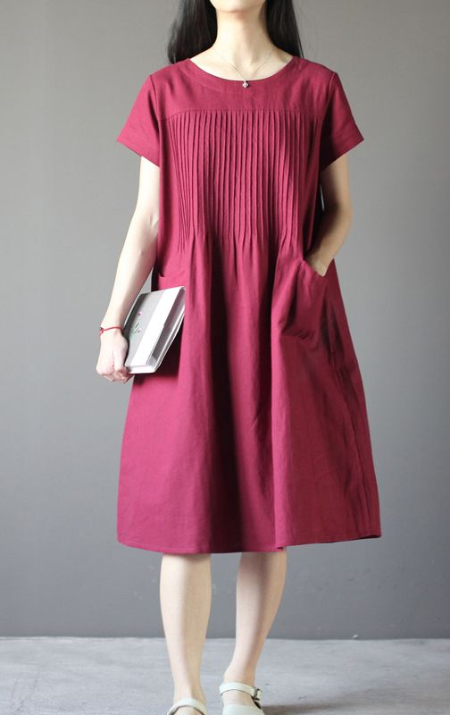 New Burgundy Linen Sundress Plus Size Shift Dresses Retro Linen