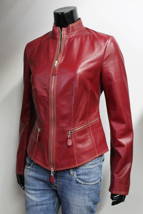 Italian Handmade Women Soft Genuine Lambskin Leather Jacket Color