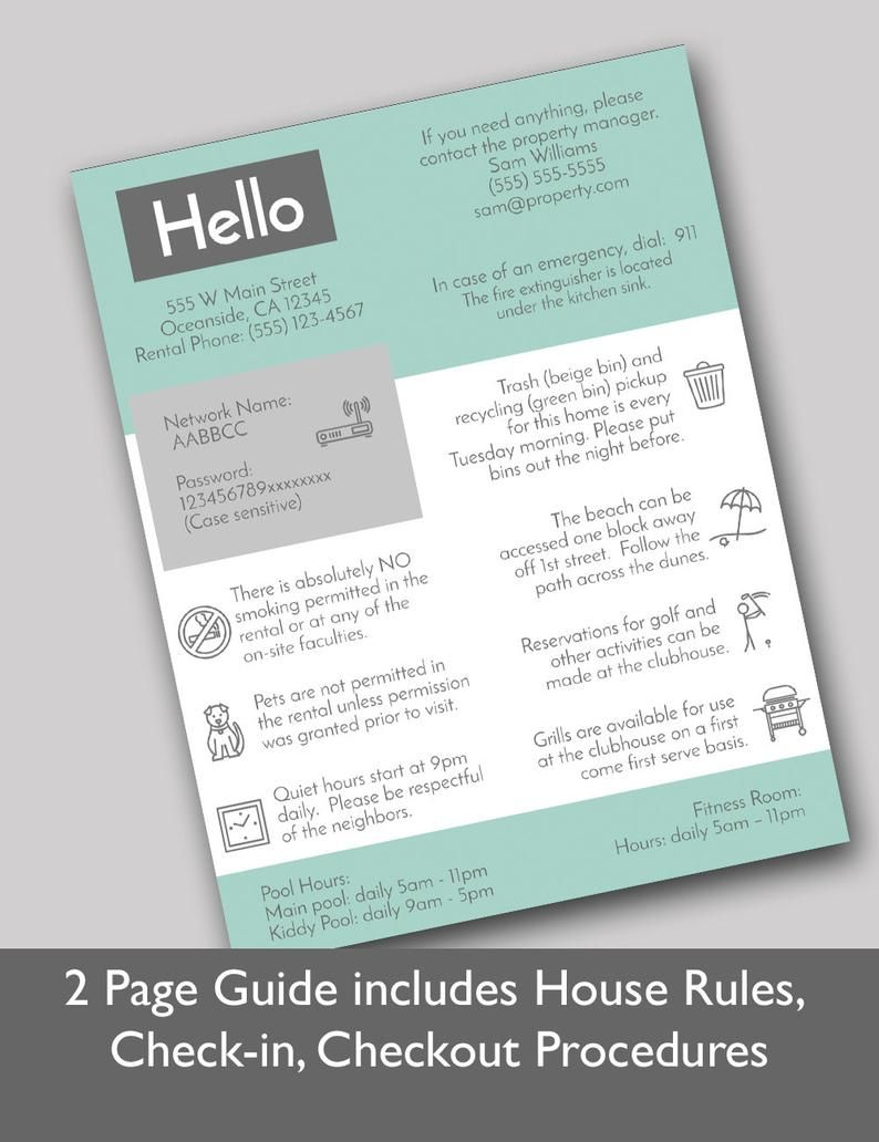 2 Page Vacation Rental Quick Guide Airbnb Welcome Template Etsy Airbnb House Rules Business Plan Template Airbnb