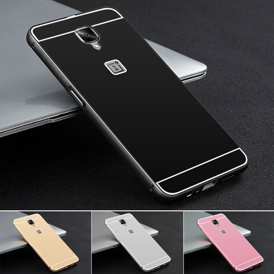 Luxury Aluminum Metal Bumper Pc Acrylic Case Cover For Oneplus 3 Samsung Note 4 Mirror Backcase With Aluminium Black Back A3000 Unbrandedgeneric