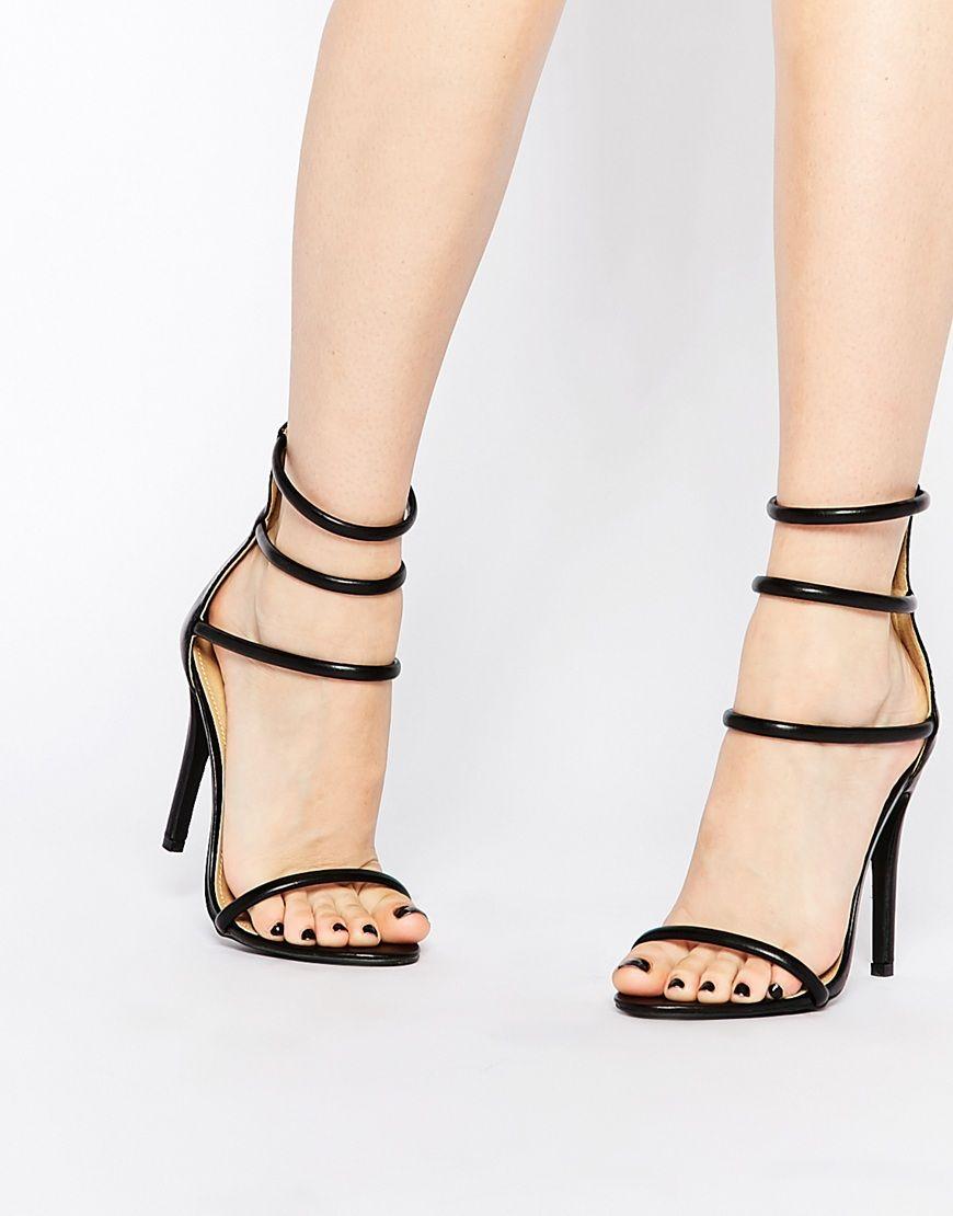 8cdef74f103d8 Boohoo Triple Strap Heeled Sandals