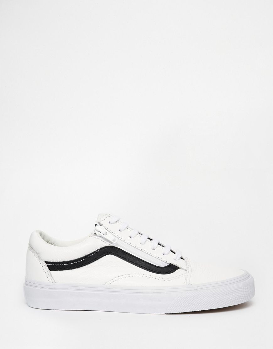 Image 2 of Vans Old Skool Black & White Zip Trainers